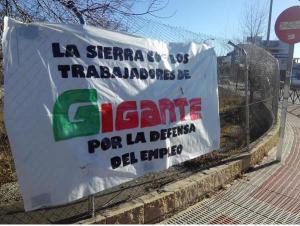 Pancarta en apoyo a las y los trabajadores de Gigante