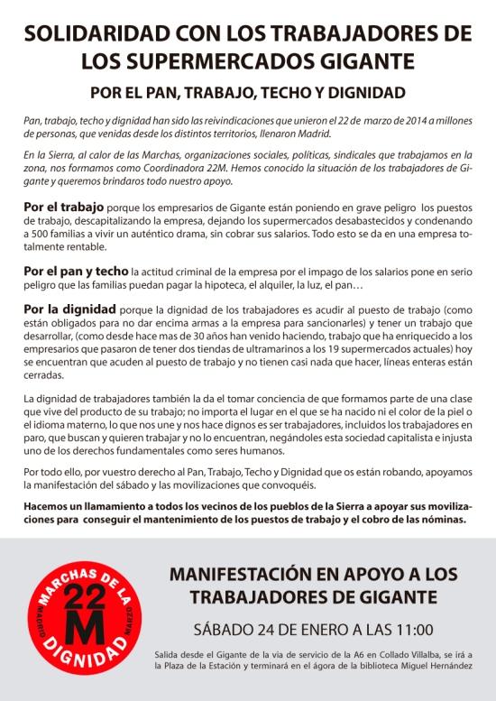 Comunicado en solidaridad de la Coordinadora 22M